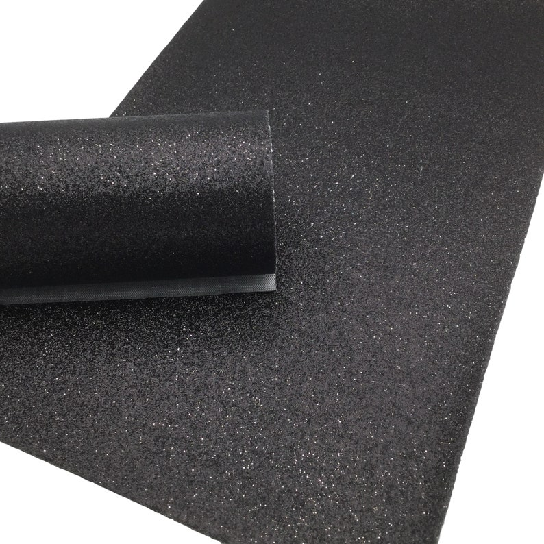 BLACK Fine Glitter Faux Leather Sheet, Glitter Sheets, Faux Leather Sheets, Leather for Earrings, Hair Bow Material photo
