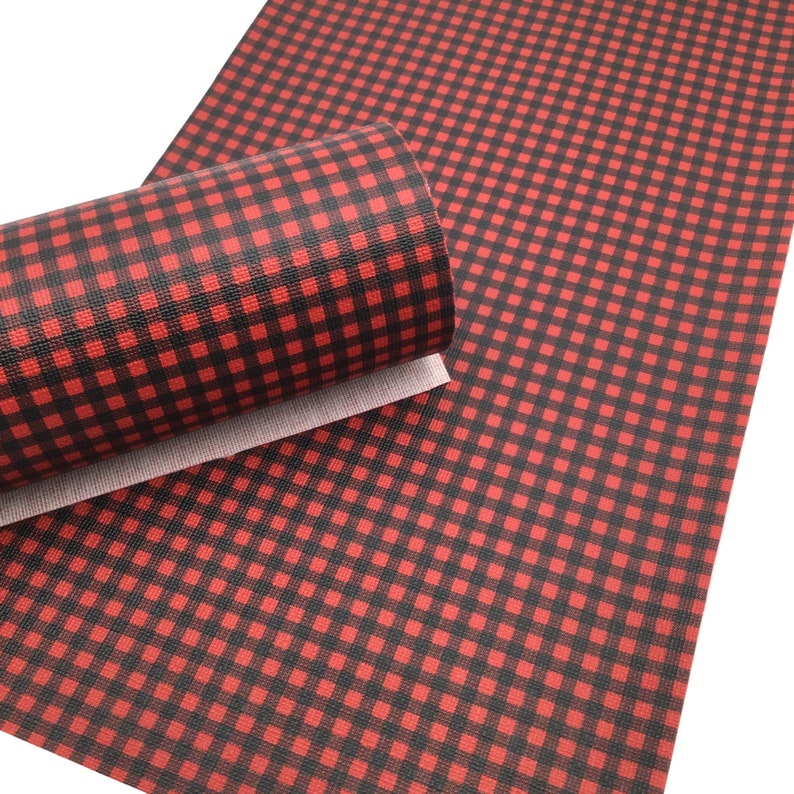 SMALL RED BUFFALO Plaid Faux Leather Sheets, Red and Black, Printed Faux Leather, Vinyl Fabric Sheet photo
