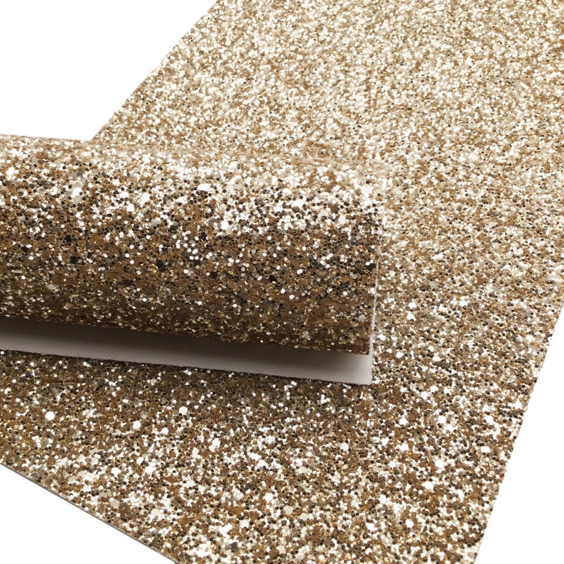 Gold Glitter Canvas Sheets, Glitter Faux Leather, Chunky Glitter Material for Hair Bows and Crafts - 400 photo