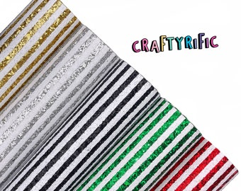 NEW Christmas Stripe Chunky Glitter Canvas Sheets, Chunky Glitter, Glitter Canvas Sheet, Canvas Fabric for Bows