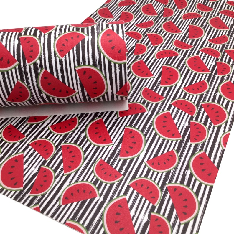 Leather for Earrings Leather Sheets WATERMELON STRIPES Smooth Faux Leather Sheets Custom Design