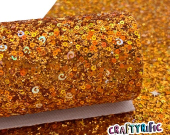 ORANGE SEQUINS Chunky Glitter Canvas Sheets, Chunky Glitter, Glitter Canvas Sheet, Canvas Fabric for Bows