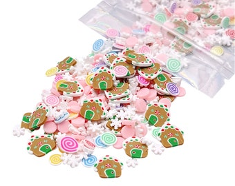 Gingerbread House Mix Clay Slices, Christmas Polymer Clay Slices, Fake Sprinkles, Jimmies, Clay Slices for Nails, Resin Crafts and Slime