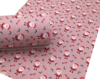 PINK SANTA Christmas Faux Leather Sheets, Christmas Custom Faux Leather, Leather Sheets, Leather for Earrings - 1508