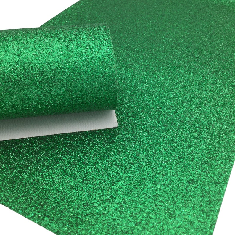 KELLY GREEN Fine Glitter Faux Leather Sheet, Glitter Sheets, Faux Leather Sheets, Leather for Earrings, Hair Bow Material photo