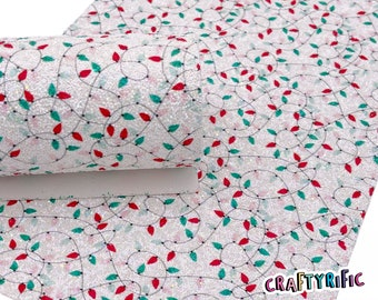 Christmas Lights Chunky Glitter Sheets, Christmas Chunky Glitter, Glitter Sheets for Bows, Material for Hair Bows