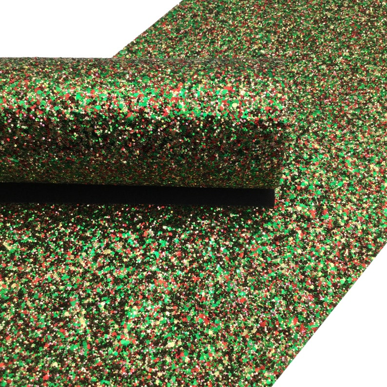 Christmas Chunky Glitter Leather Sheets, Glitter Faux Leather, Vinyl Fabric Sheet, 7x13 Faux Leather photo