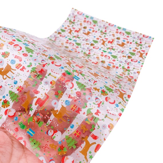 7.7x12.9inch Merry Christmas Tree Print Jelly Sheet Waterproof Jelly Material For DIY Pool Hair Bow