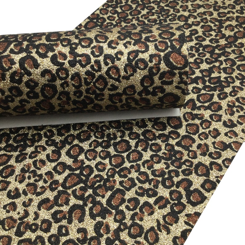 GOLD GLITTER LEOPARD Print Fabric Sheet, Canvas Fabric Sheet, Glitter Fabric Material for Hair Bows & Crafts photo