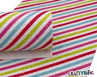 Christmas Stripes Chunky Glitter Sheets, Christmas Chunky Glitter, Glitter Sheets for Bows, Material for Hair Bows
