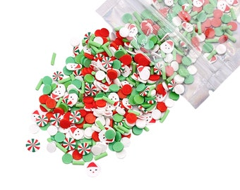 Here Comes Santa Mix Polymer Clay Slices, Christmas Polymer Clay Slices, Fake Sprinkles, Jimmies, Clay Slices for Resin Crafts and Slime