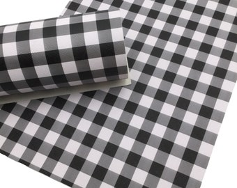 BLACK Buffalo Plaid Faux Leather Sheet, Leather for Earrings, Leather Material for Hair Bows - 378
