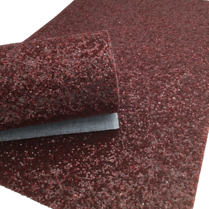 MAROON CHUNKY Glitter Canvas Sheets, Glitter Sheet, Canvas Sheet, Chunky Glitter Material for Hair Bows and Crafts photo