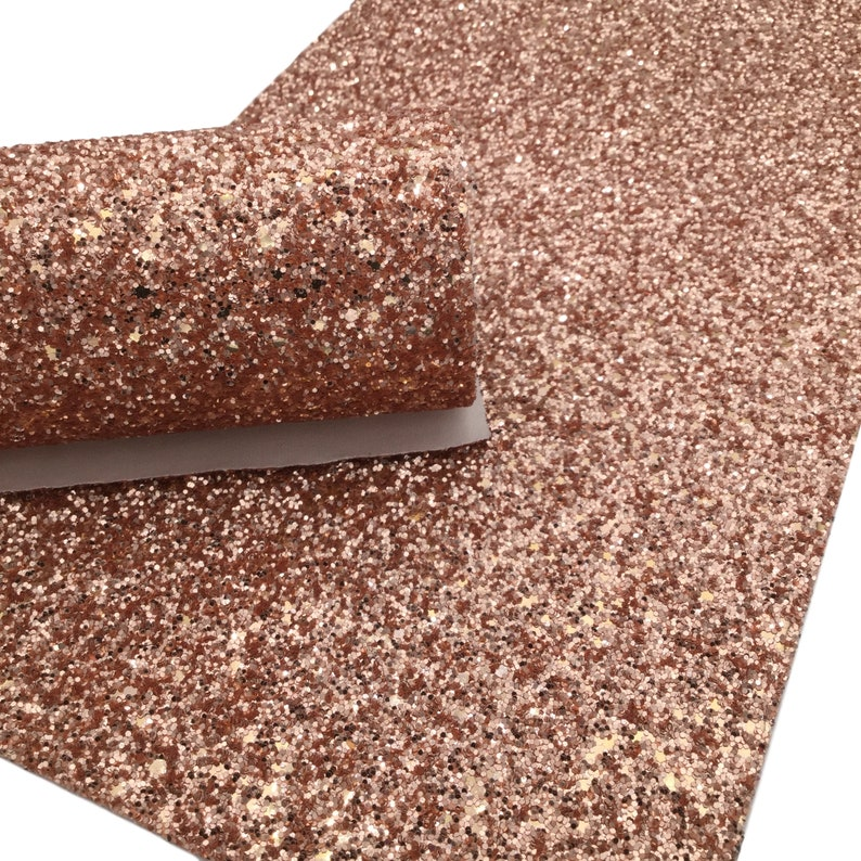 ROSE GOLD Glitter Canvas Sheets, Chunky Glitter Material for Hair Bows and Crafts - 399 photo