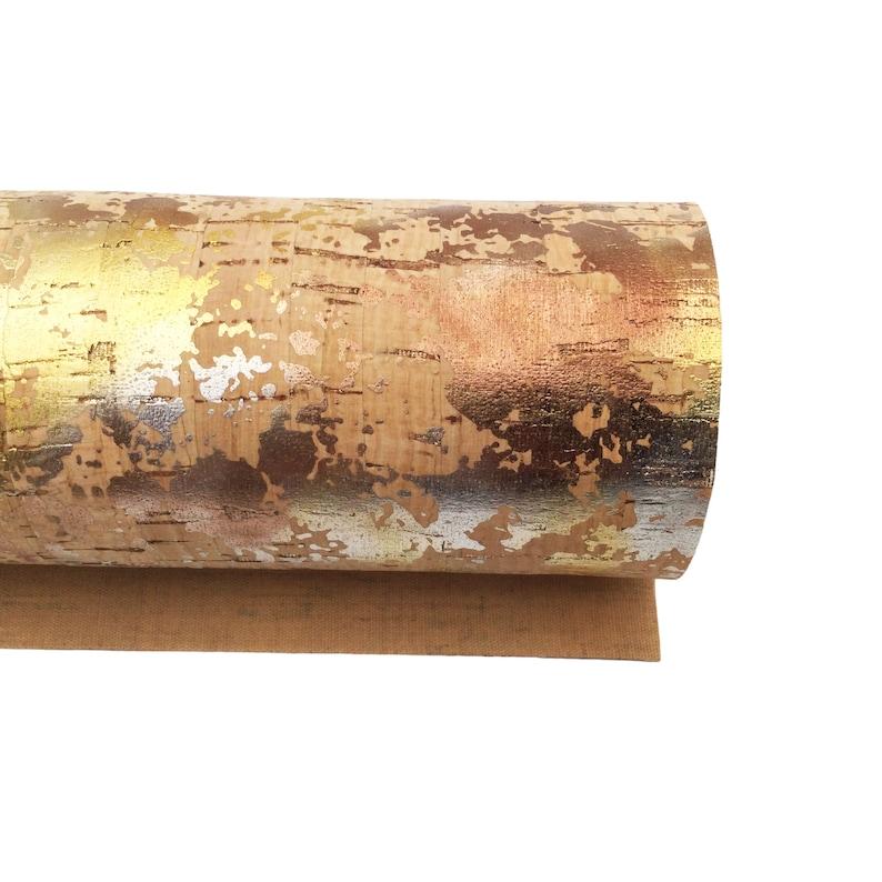 1134 SPLASH Of MIXED METALS Cork Fabric Sheet Paper Thin Cork Fabric .60mm Cork Sheet Cork Fabric Full Sheet