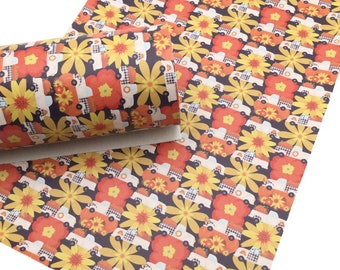FLORAL FALL TRUCK  Faux Leather Sheets, Fall Custom Faux Leather, Leather Sheets, Leather for Earrings - 1451