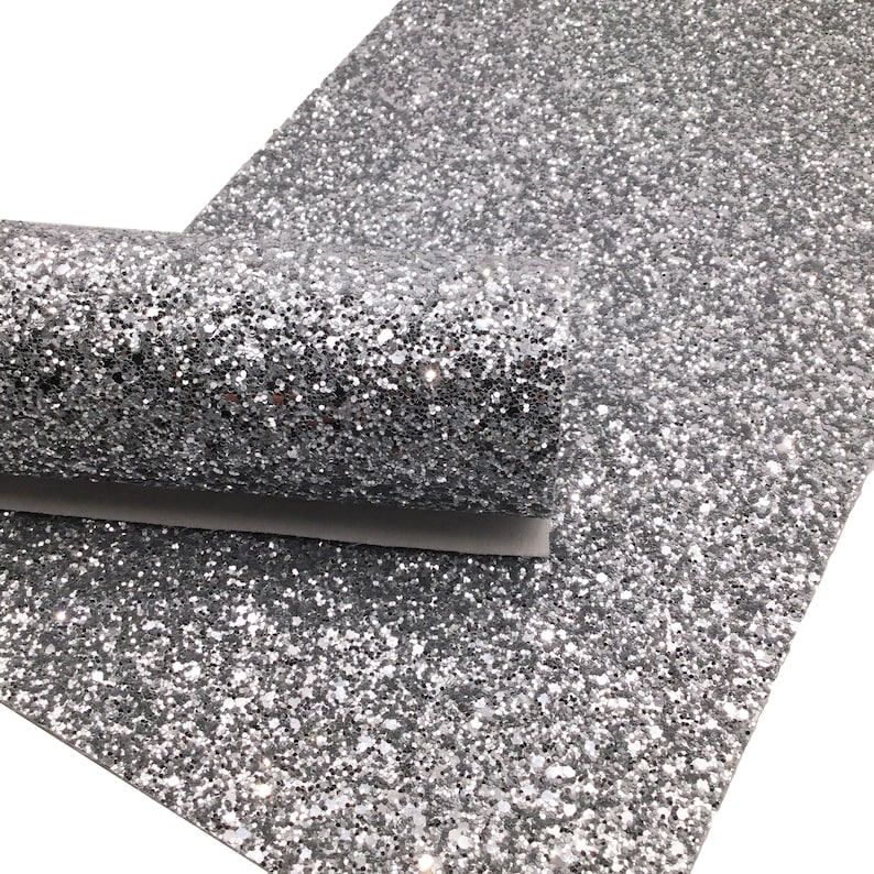 Silver Chunky Glitter Canvas Sheets, Glitter Faux Leather, Vinyl Fabric Sheet, 7x13 Faux Leather - 1053 photo