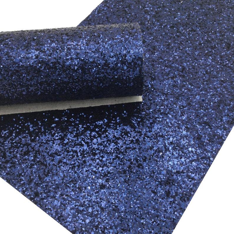 NAVY BLUE Chunky Glitter Canvas Sheets, Chunky Material Canvas, Glitter Canvas Sheet, Glitter Fabric Sheet photo