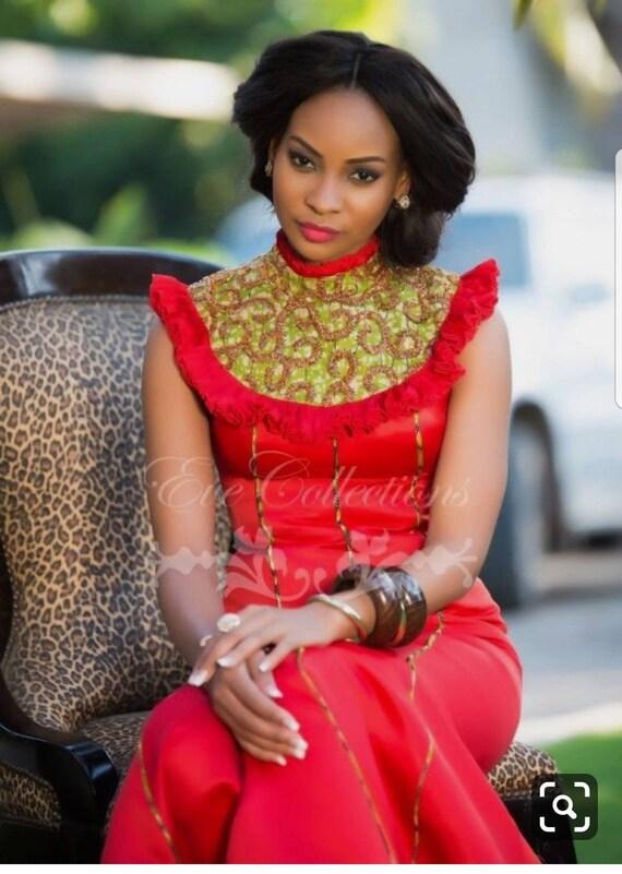 Evie/'s Bespoke floor length gown handmade dashiki dress African women clothing