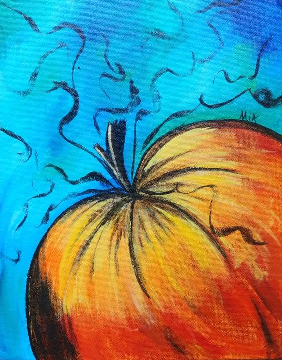 Peinture Coloree De Citrouille Etsy