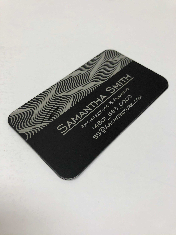 black metal custom laser engraved business cards - Engraved Business Cards