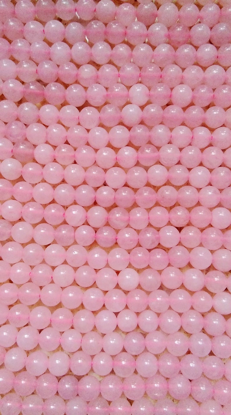 Natural Pink Rose Quartz Beads For Necklace,Pendant,Earring Smooth Polished Round 8mm 15.4 Inch