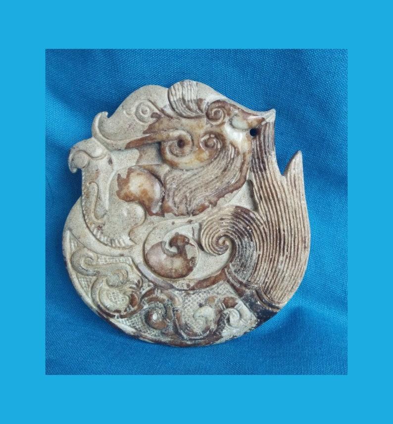 Antique Chinese Jade Dragon Phoenix Figurine E2218