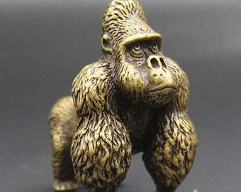 Solid Brass Hand Carved Gorilla Mini  Statue, home decoration
