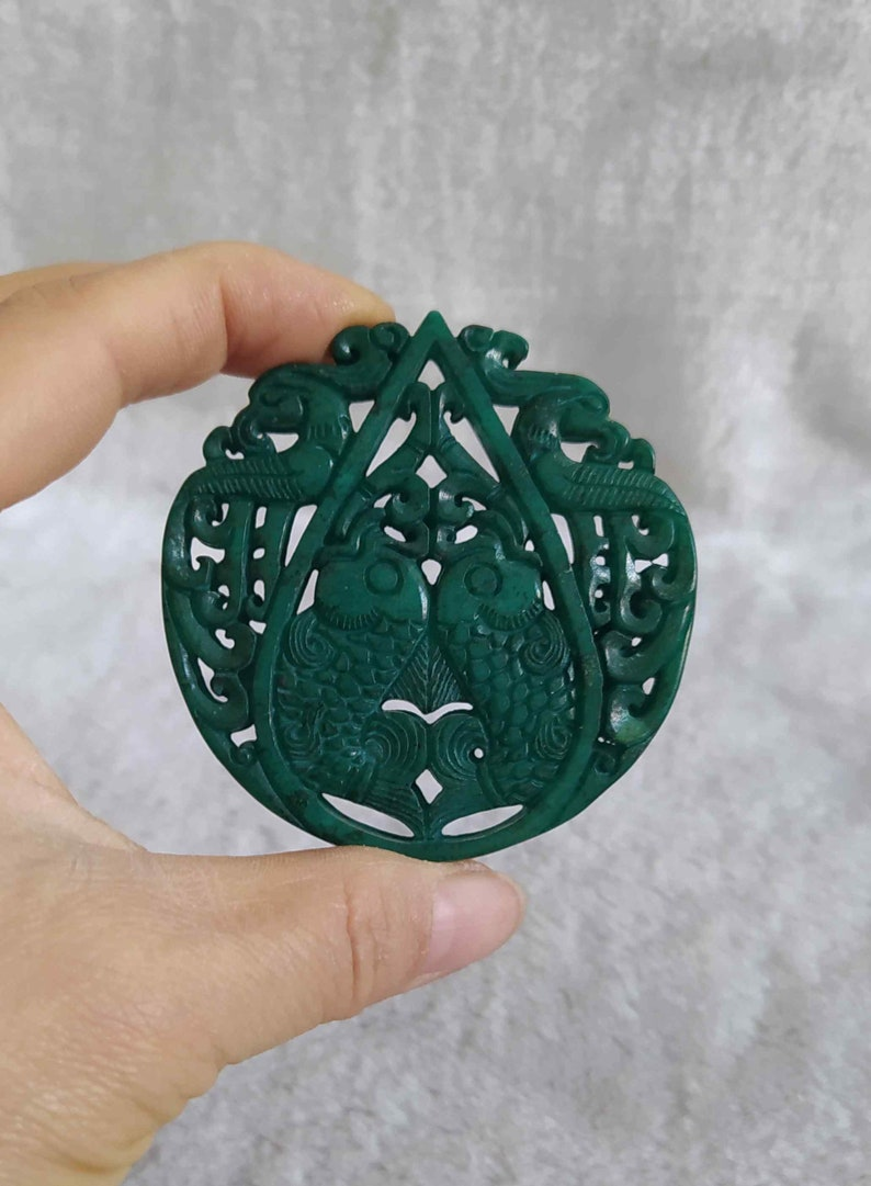 Antique Chinese Jade Doublesided Engraving Fish Pendant Statue E2553