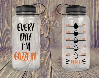 21eee176e4 Every Day I'm Guzzlin' - Water Bottle Tracker - Decal ONLY | Motivational Water  Bottle Decal with Hourly Tracker | Water Reminder