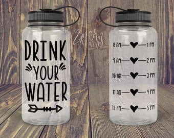 70635a8f16 Drink Your Water - Water Bottle Tracker - Decal ONLY | Motivational Water  Bottle Decal with Hourly Tracker | Water Reminder
