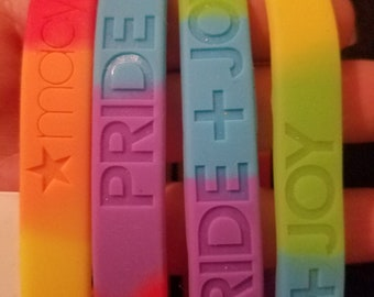 LGBT PRIDE, vintage, baracelet, jewelry set, rubber, plastic, stickers