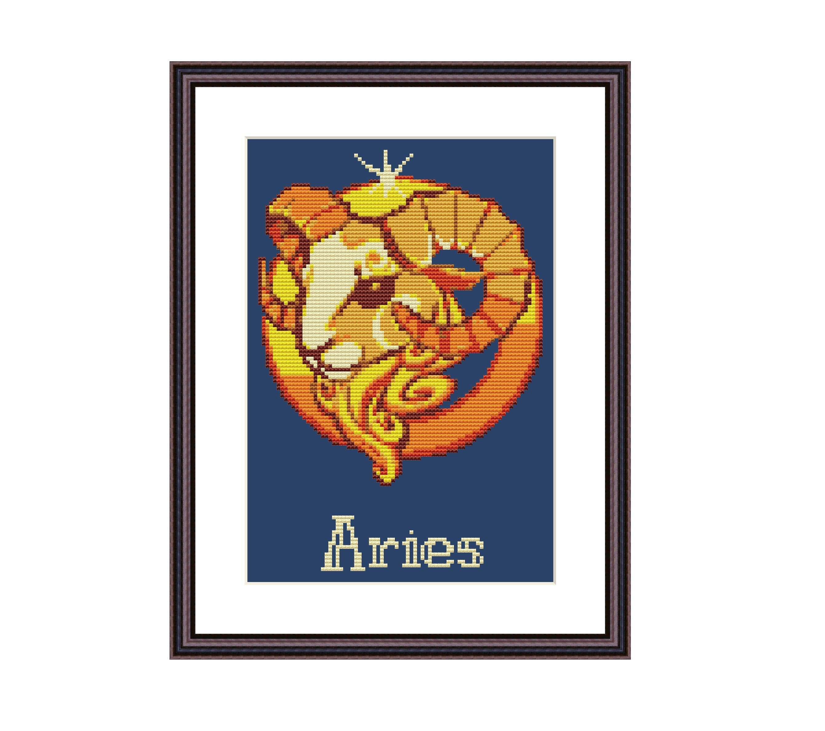 Aries Zodiac Sign Cross Stitch Pattern Instant Download PDF Digital Pattern  Modern Embroidery Horoscope Astrology Xstitch Birthday Present