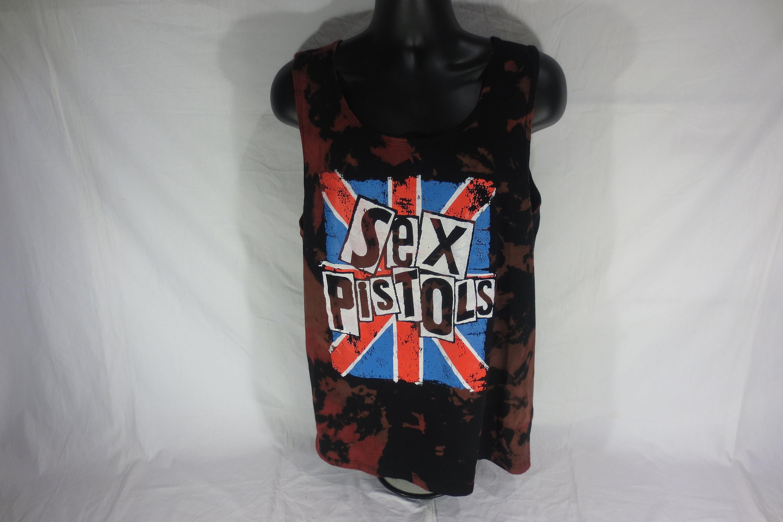 Sex Pistols - Acid Wash/ Red Dye Splatter tank top - Size Extra Large