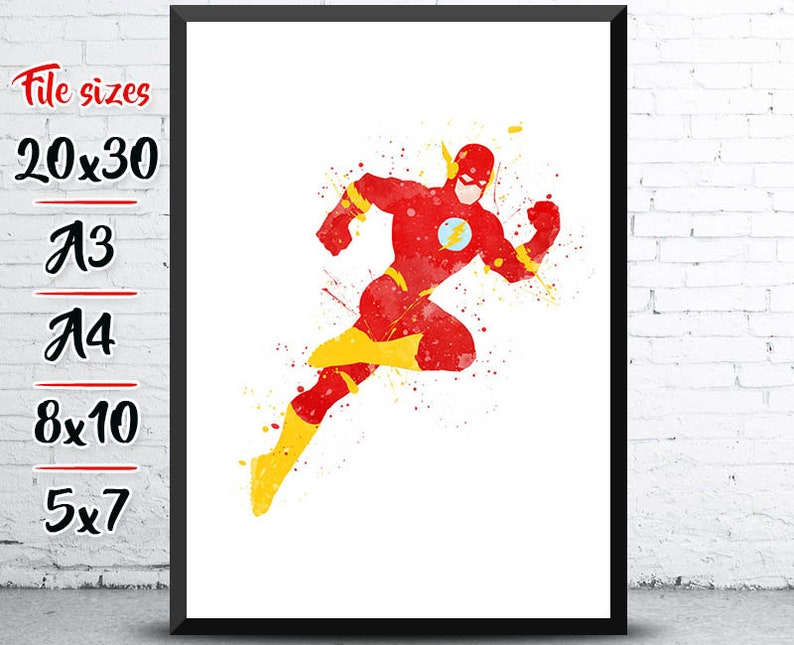 The Flash Print, Flash Poster, DC Comics, superhero nursery, superhero  birthday, Superhero decor, superhero painting, wall art, home decor
