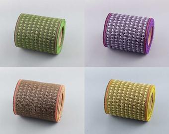 4 color set of Japanese jacquard ribbon, 5M roll, durable, handmade material, dots pattern, tatami tape