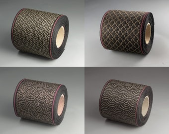 4 color assortment roll set of Japanese jacquard ribbon, 5M roll, durable, tatami tape, Coco brown