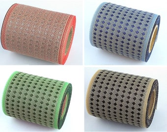 4 set of Kurashiki Ribbon, Japanese jacquard ribbon, 5M roll, durable, handmade material, dotted pattern