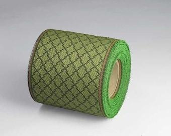 Kurashiki Ribbon roll,Japanese matsu, pine motif, green, Japanese jacquard ribbon, 5M roll, durable, handmade material