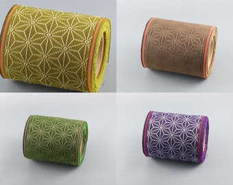 4 color set of Japanese jacquard ribbon, 5M roll, durable, handmade material, Asanoha motif, tatami tape