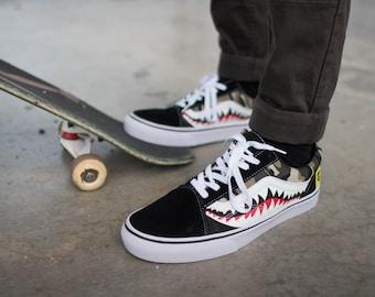 7c055337f4 Bape Camouflage Shark Teeth Custom Vans