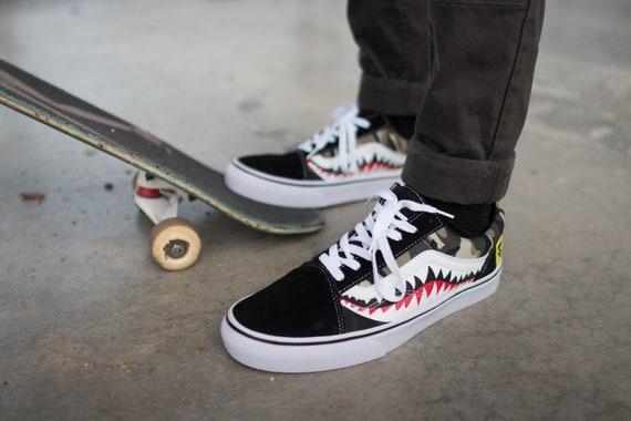 640ed6bd498aec Bape Camouflage Shark Teeth Custom Vans
