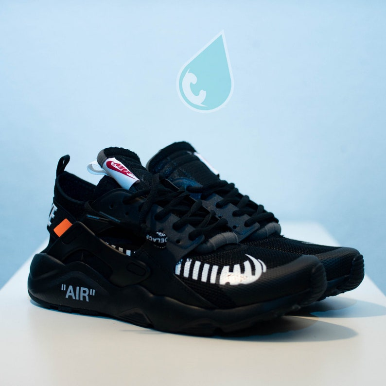 77a01f67693 Nike Huarache Off White Custom Black Black