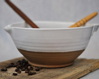 Wood Ash Decoration Raw Clay Pottery Brown and White Bowl Rustic Design Low Straight-Walled Ceramic Bowl Contemporary Fruit Bowl