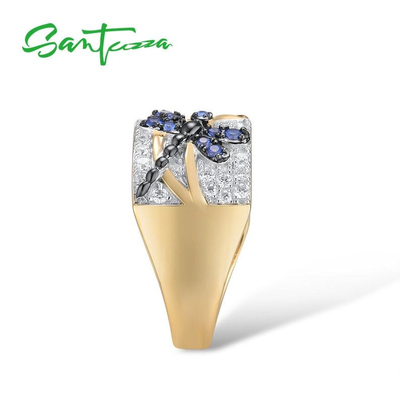 SANTUZZA Handmade Blue Dragonflies  Ring 925 Sterling Silver with Charming Cubic Zircon Fashion Jewelry R315136BNBZSZ925