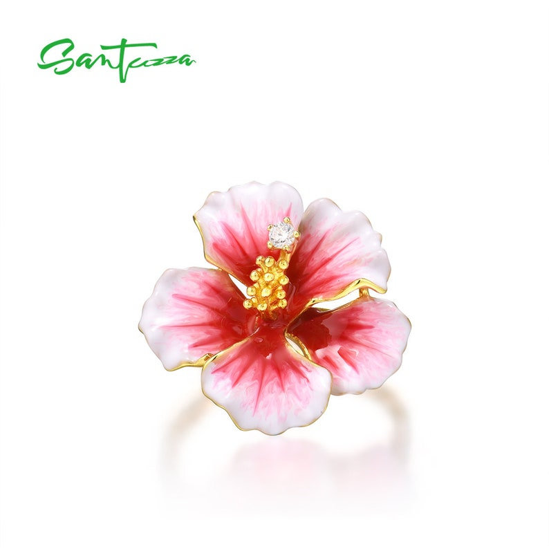 SANTUZZA Handmade Pink Peony Flower  Ring 925 Sterling Silver Gold Plated with Charming Cubic Zircon Fashion Jewelry R315793ENASY925
