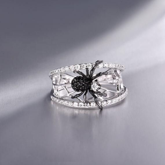 SANTUZZA handgemachte schwarze Spinne Ring 925 Sterling Silber mit charmanten kubischen Zirkon Mode Schmuck R305208BSNZSK925