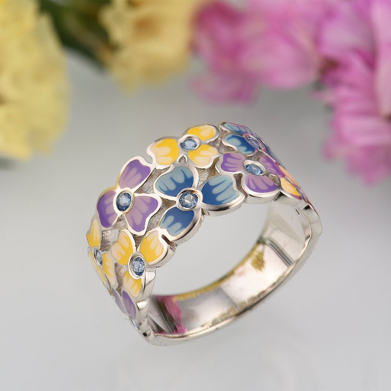 SANTUZZA  Handmade Enamel Delicate  Colorful Flower Ring For Women 925 Sterling Silver Sparkling Blue Spinel Delicate Fashion Jewelry