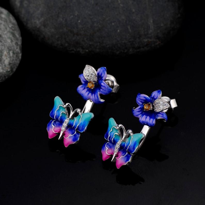 SANTUZZA Handmade Enamel Blue and  Pink Butterfly Flower stud pierce Earrings For Women 925 2 way to wear Sterling Silver Fashion Jewelry