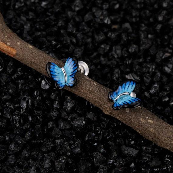 SANTUZZA Handmade Enamel Blue Butterfly Pierce  Dangling Earrings For Women 925 Sterling Silver Cubic Zircon Fashion Jewelry